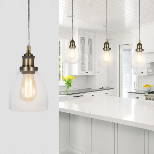 Tomshine Glass Pendant Light Lamp Retro Vintage E26 Bulb Base Socket Simple Compact Design for Restaurant Living Room Cafe Shop Bedroom