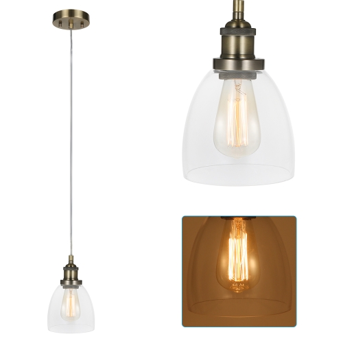 Tomshine Retro Vintage Socket Glass Pendant Light Lamp