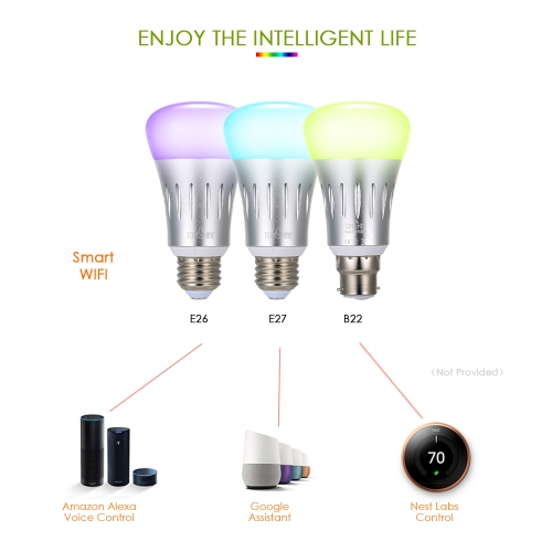 Tomshine Smart LED Bulb Intelligent Light Dimmable Brightness Adjustable  WIFI Wireless APP Control AC85-265V Multicolored Changing Party Disco