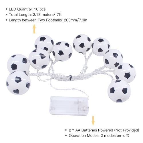 10 LED 2.13 Meters Soccer Football LED Strig Light Lamp Warm White for World Cup Theme Party Restaurant Home Decoration
