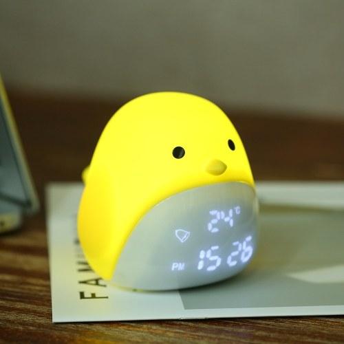 Cute Chick Digital Alarm Clock USB Charging Night Light with Three Brightness Levels Touching Control