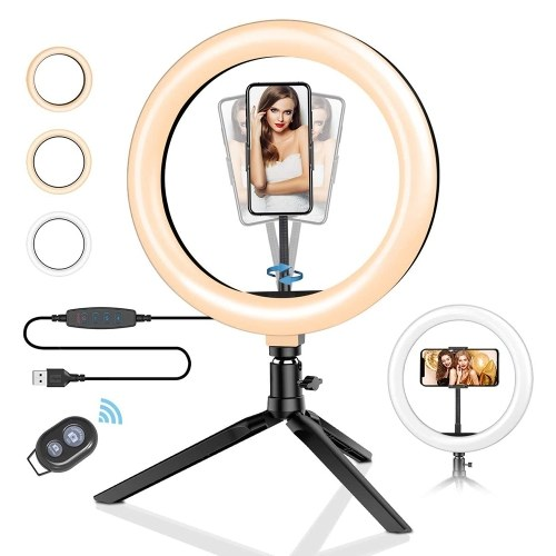 DC5 V 12 W 36 120 LEDs Light Round Selfie Camera Lamp BT Connected Remote Controller/ 11 Levels Adjustable Brightness Dimmable/ 3 Colors Temperature Changing/ USB Powered Operated/ Flexible Goose Neck Design/ 360° Rotatable Illumination Angle with Cell Phone Holder for Live Show Taking Pictures