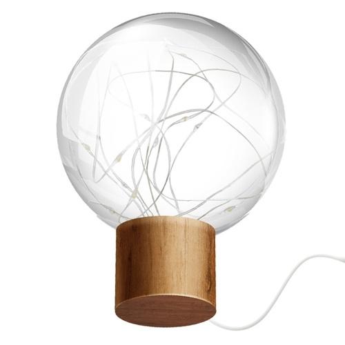 Luce notturna per atmosfera da comodino con alimentazione USB Base in legno chiaro con base in legno