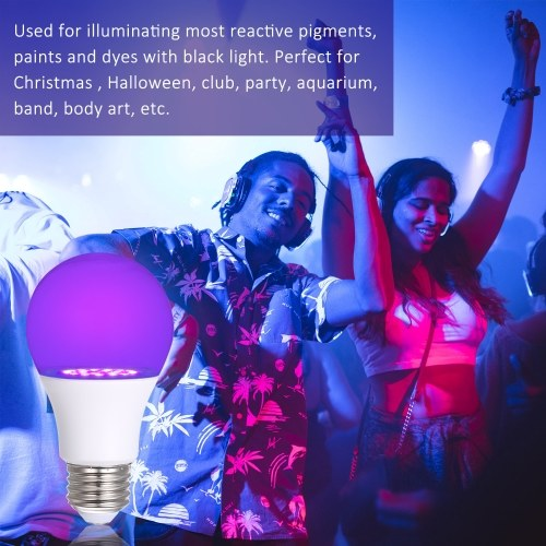 Tomshine 100-240V UV LED Light Bulb with E26 Base 2PACK Ultraviolet Blacklight 7W 21leds UVA Level 385-400nm Wavelength for Party Fluorescent Poster Body Paint