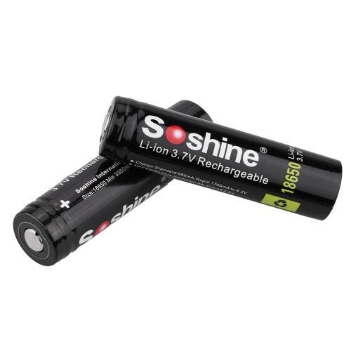 Soshine 2pcs 18650 3.7V 3400mAh batterie au lithium-ion rechargeable