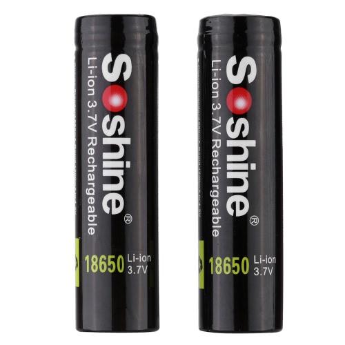 Soshine 2pcs 18650 3.7V 3400mAh Rechargeable Li-ion Lithium Battery