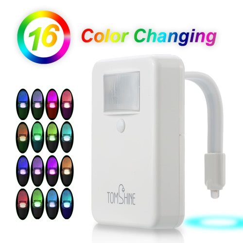 Tomshine LED Toilet Night Light 16 Color Changin/Single Color Fixed Motion/Light Sensor Flexible Bowl Light for Home Bathroom Hotel Longer Standby Time
