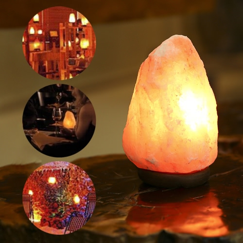 E14 Bulb Himalayan Crystal Salt Lamp Ionic Air Purifier Light with Wooden Base