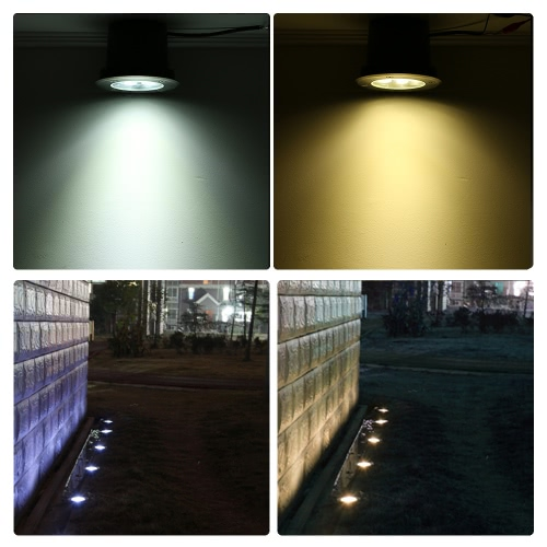 Tomshine 7W AC/DC 12V LED Underground Light Lamp 700LM High-power Tempered Glass Outdoor Ground Garden Path Floor Stair Yard Spot Landscape Lamp IP67 Water Resistant Warm White