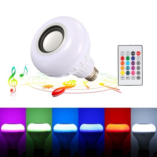 RGBW BT haut-parleur LED ampoule avec télécommande audio stéréo sans fil seulement € 7.41