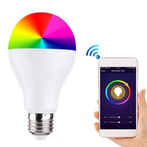 RGB + W WIFI LED Smart Intelligent Light Bulb Сотовый телефон App / Voice Control