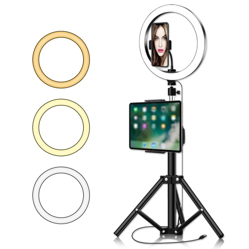 USB Powered Dimmable LEDs Selfie Fill Light with Tripod Stand Phone Clip