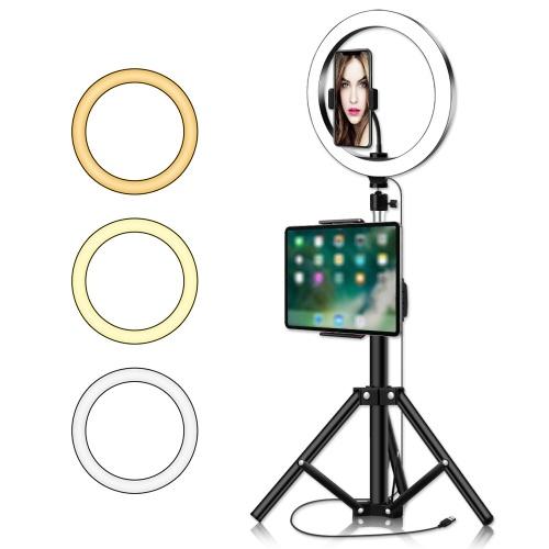 LED à intensité variable alimentée par USB Selfie Fill Light avec trépied Clip de téléphone