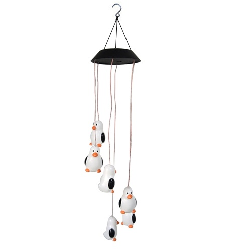 Solar Wind Chime Penguin Lamp Outdoor Waterproof Garden Patio Decorative Holiday Hanging Decoration