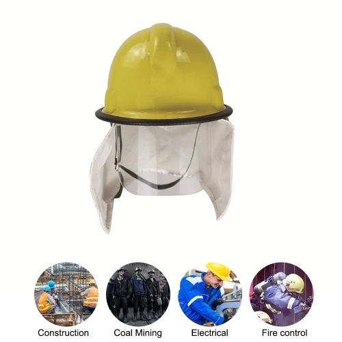 Fire Fighter Rescue Helmet Safety Cap with Fire Insulation Aluminum Foil Shawl PC Anti-scratch Mask Firefighter Safety Helmet