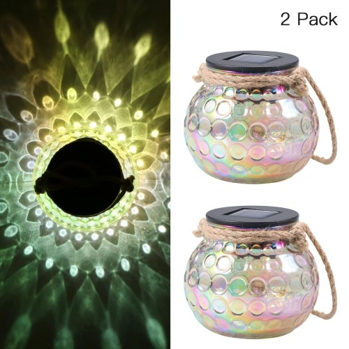 Tomshine Solar Lantern Jar Lights Hanging Garden Lamp Decorative Peacock Glass Ball Light IP65 Water-resistant for Outdoors Patio Garden Tabletop 2 Pack