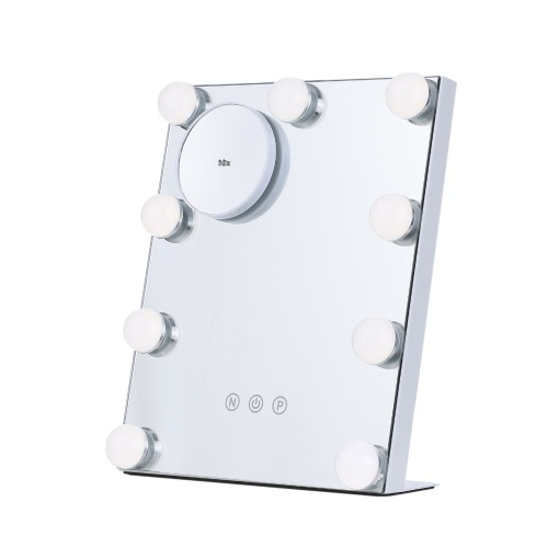 Tomshine Espejo de mesa con luz 9 bombillas Control táctil Espejo de maquillaje Desmontable 10x Lupa Alimentado por USB Regulable 3 colores de iluminación para estudios de vestuario