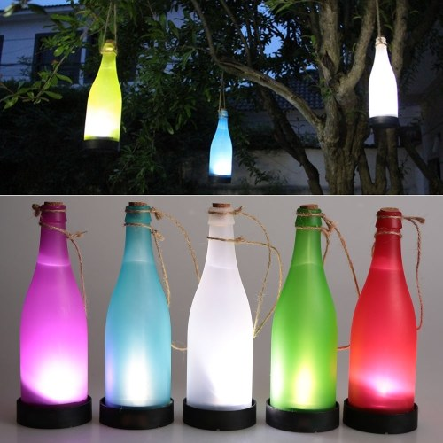 5PCS Solar Powered Light Sense Cork Wine Bottle LED Hanging Lamp for Outdoor Party Garden Courtyard Patio Pathway Decoration