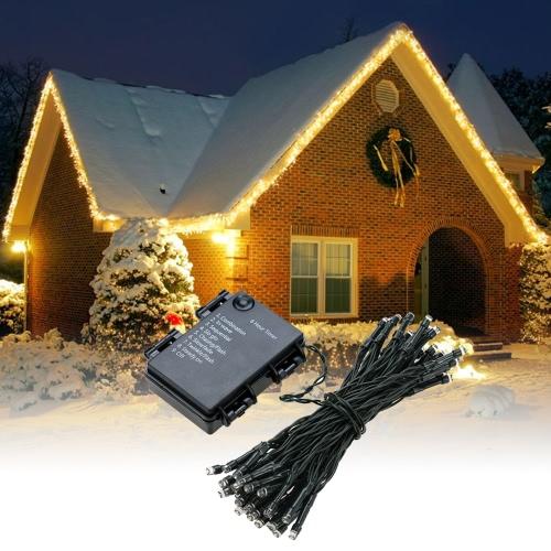5M 50 LEDs Warmweiß Timer-Schnur-Licht IP65 Außen Weihnachten Weihnachtsdekoration Lampe mit Batterie-Kasten für Hochzeit Garten Heim-Raum-Dekor