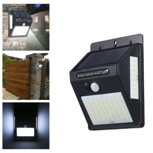 DC5.5V 20W 100 LEDs Three Sides Solar Power Energy Wall Mounted Lamp