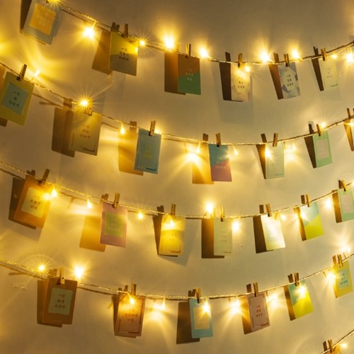 10m/32.8ft 100LEDs Fairy String Light Batterys Powered Warm White Photo Clip Frame Decoration Lamp(50 Clips and 30 Nails)
