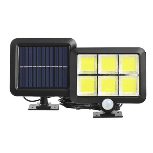 Lámpara de pared de inducción solar separada Lámpara de patio Luz de garaje Seis cuadrados COB 120LED Botón de tres funciones Luz blanca con cable de extensión de 5 m