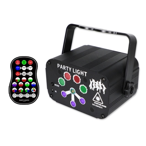DC5V 1A/2A 6W LEDs Stage Light 240 Patterns Sound-activated Stage Projector with Controller(USB 8 hole)
