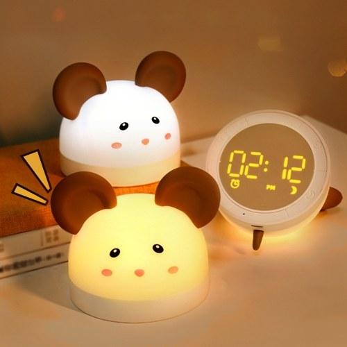 Lámpara decorativa para el hogar con luz de noche recargable USB con dibujos animados encantadores con función de reloj y cuenta regresiva