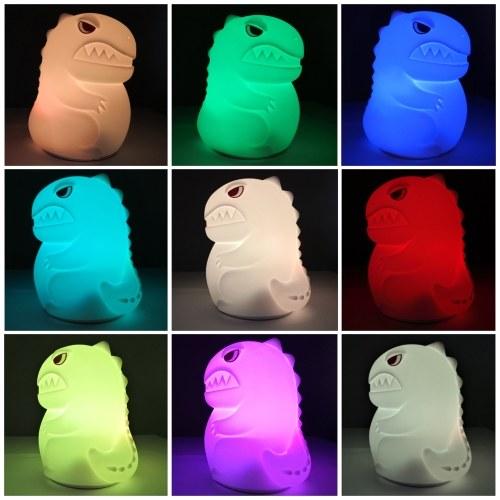Lámpara de aplauso de silicona con luz nocturna LED de dinosaurio pequeño de 16 colores