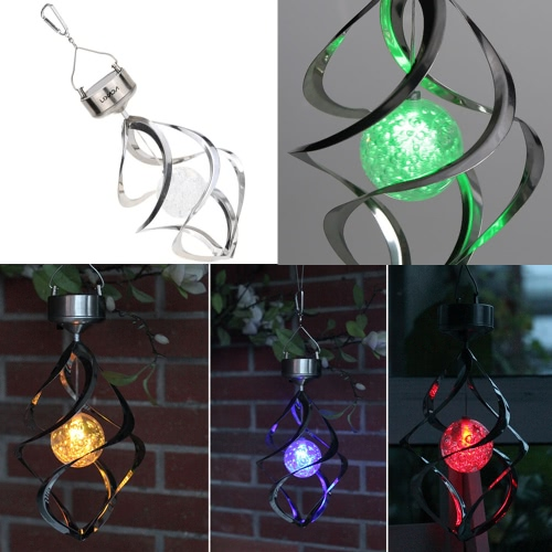Lixada Solar Powered Light Sense Wind Spining LED Color Changing Hanging Lamp for Outdoor Party Garden Courtyard Landscape Pathway Decoration