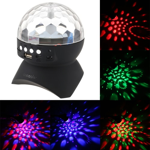 Docooler 3W Mini LED Multi-colored Rotating Magic Ball Light Lamp Disco Stage Effects Support TF Card FM Radio Bluetooth Speaker for KTV Club Bar Party