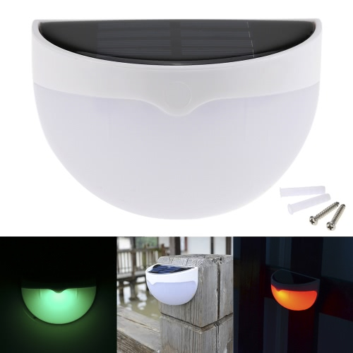 RGB Solar Powered Outdoor Wall Lamp Light Control Battery Included
