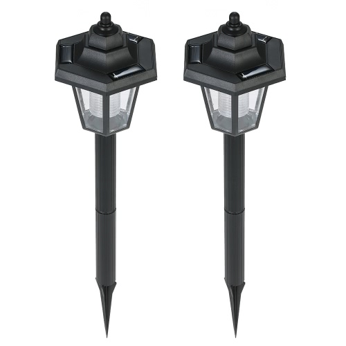 2Pcs Solar Powered LED White Light Sensor Lawn Lamp Ground Insert for Outdoor Garden Courtyard Pathway Landscape Decoration