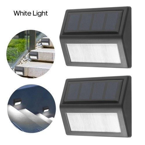 2Pcs 6LED Solar Stair Lamp Wall Light IP65 Water-resistant Outdoor Landscape Lighting for Path Garden Courtyard