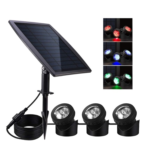 Solar Pond Light Spotlights Underwater IP68 Waterproof Solar Powered Light with 3 Lamps Outdoor Landscape Lighting RGB Colorful Light for Garden Pool Pond