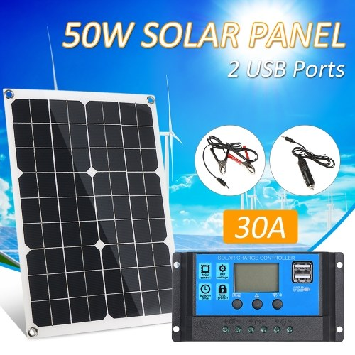 50W DC 5V/18V Dual Output Solar Panel with 2 USB Ports & Car Charge IP65 Water Resistance 12V/24V Solar Charge Controller PWM Intelligent Regulator