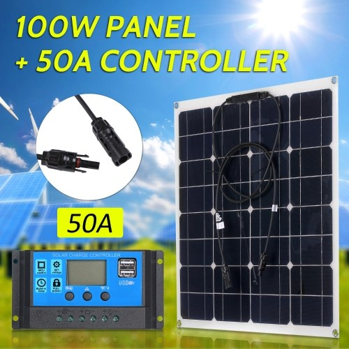 100W 18V Monocrystalline Solar Panel Module Kit High Efficiency IP65 Water Resistance with 10/20/30/40/50A Solar Charge Controller PWM Intelligent Regulator for Home RV Car Boat Batterys Charging