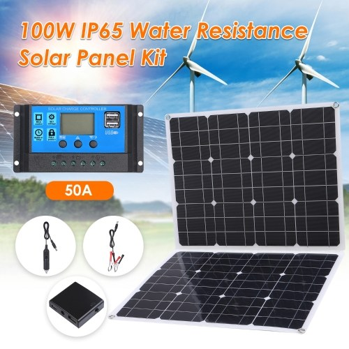 100W D C 9V/18V Flexible Solar Panel with 50A L-ED Display Controller Kit Set with USB/ Type C Interface & Car C-harger 10/20/30/40/50A Solar C-harge Controller IP65 Water Resistance for Home Car Boat Indoor Outdoor Use Portable