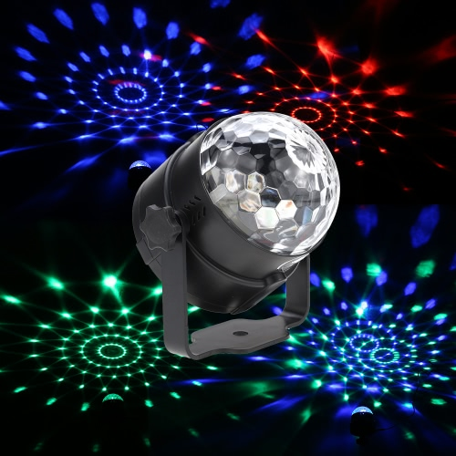 6W Mini LED RGB Multi-colored Magic Ball Light Small Movable Sound Activated Portable USB Powered Lamp Disco Stage Effects for KTV Club Bar Party