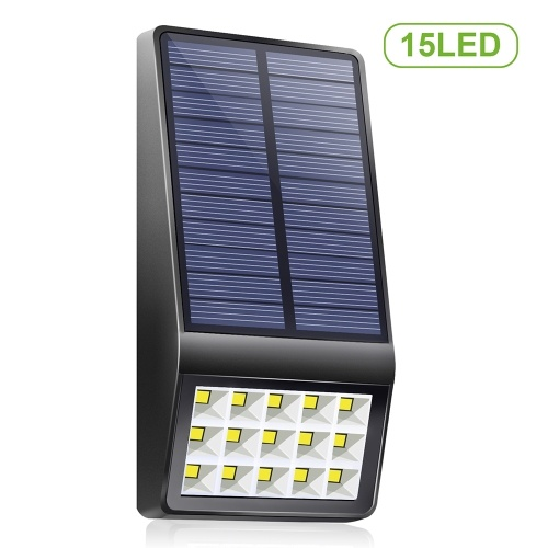 15 LEDs Solar Wall Lamp with Light Control Function Solar Powered Light IP65 Water-resistant Outdoor Lighting for Patio Pathway Garden Courtyard