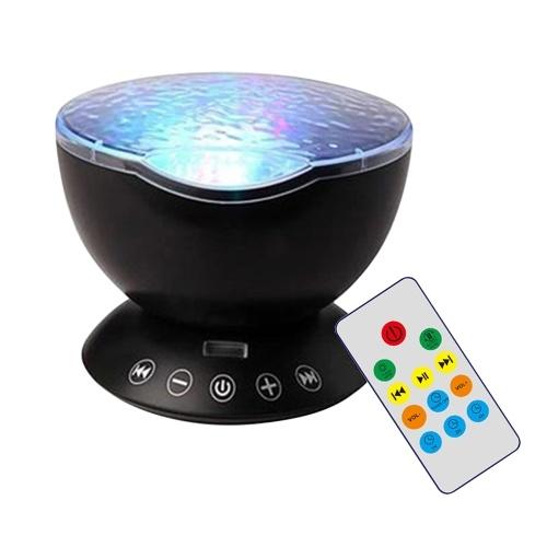 USB Ocean-wave Proiettore Luce Telecomando 7 Modalità di illuminazione Funzione timer Musica Altoparlante LED macchina Luce notturna per bambini