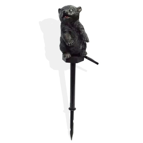 Artesanía de resina solar Lámpara de césped de oso Blanco cálido Color de luz IP55 Negro / Oso blanco