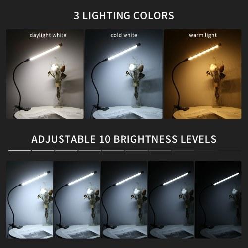 LEDs Clip-on Desk Lamp Dimmable Flexible Lighting Angle Reading Light 3 Lighting Modes & 10 Brightness Levels