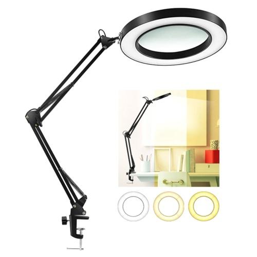 8X Lupe mit LEDs Klemmclip Licht 10 Stufen Einstellbare Helligkeit Dimmbar 3 Farben Temperaturwechsel Schreibtischlampe