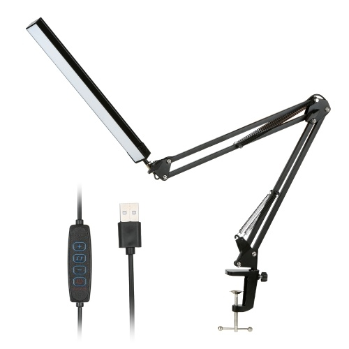 DC 5 V 12W 80LEDs Luz de escritorio Lámpara de mesa Funciona con USB 10 niveles Brillo ajustable Regulable