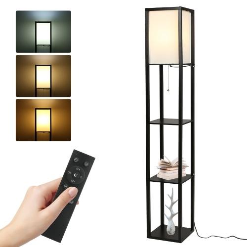 Lámpara de pie de estante moderna Tomshine con control remoto e interruptor de tracción LED de 15 W regulables Temperaturas de color de la bombilla Lámpara de mesita de noche estrecha