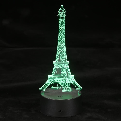 Illusion optique 3D LED Night Light Table télécommande USB Câble de batterie Operated Day Halloween Décorations de mariage Tour Eiffel multicolore de lampe de bureau Valentine