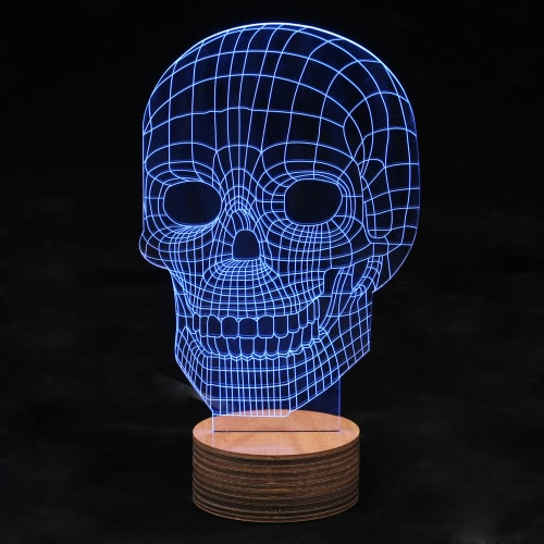 3D Optical Illusion LED Day Décorations Halloween Skull Table Night Light Câble à distance Bureau de contrôle USB Lampe Valentine Forme Multicolores