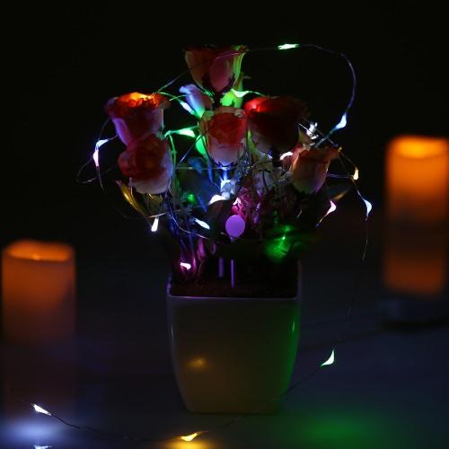 50 светодиодов 5м / 16.4ft Открытый Медные провода Струнные Свет Красочный Фея лампы от батареи водостойкая для праздничных торжеств Рождество Хэллоуин Свадебные украшения
