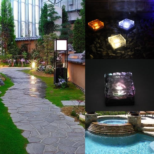 Tomshine 4Pcs IP67 Water Resistant Light Sensor Creative Glass Stone Ice Cube Solar Powered Crystal Brick LED Night Lamp for Garden Courtyard Pathway Patio Pool Pond Outdoor Decoration Xmas